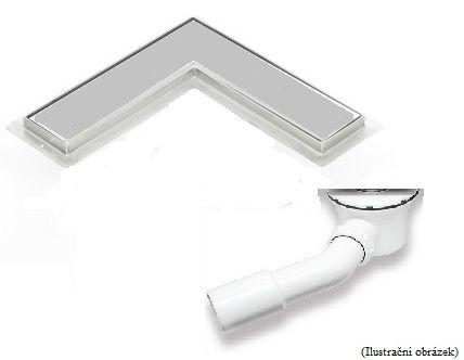 Sprchový odtokový žlab rohový L s keramickým obkladem (plastový sifon)