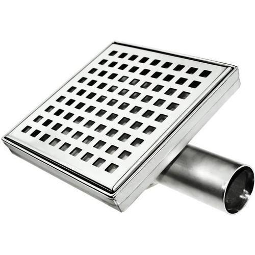 Vpusť podlahová čtvercová Strandart nerez s kovovým sifónem (krycí mřížka)